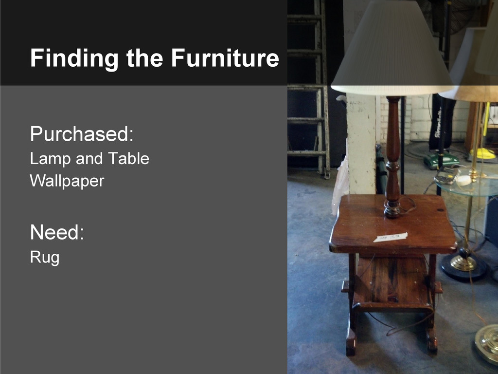 Finding the Furniture Purchased: Lamp and Table...