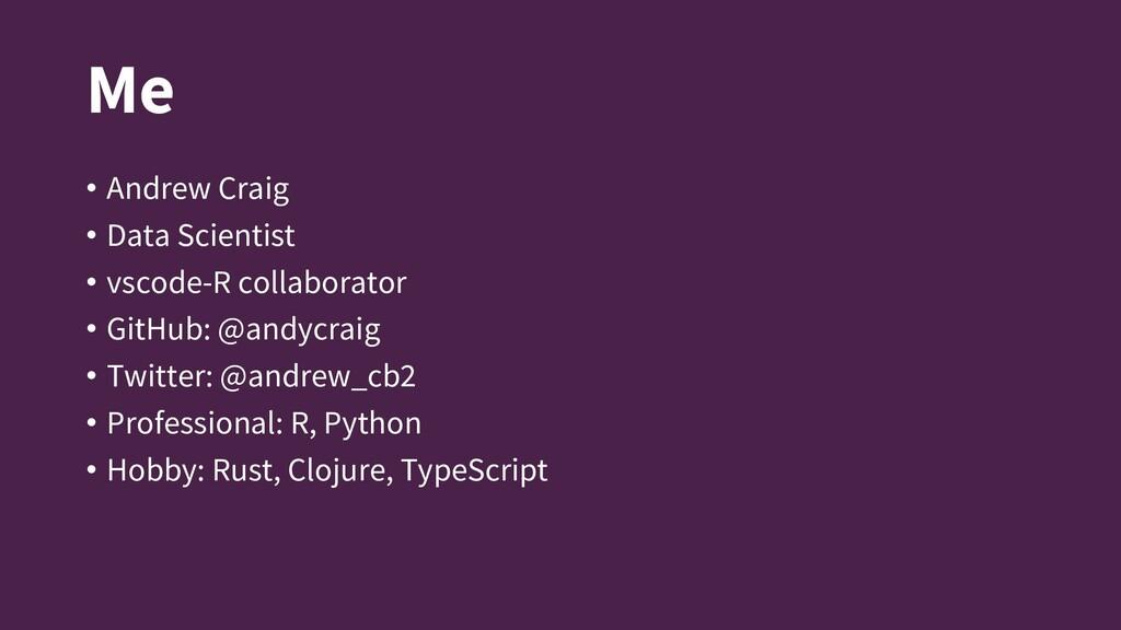 Me • Andrew Craig • Data Scientist • vscode-R c...