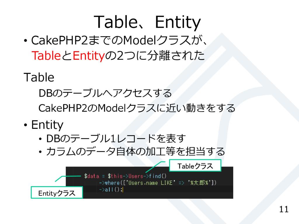 Table、Entity Table DBのテーブルへアクセスする CakePHP2のMode...