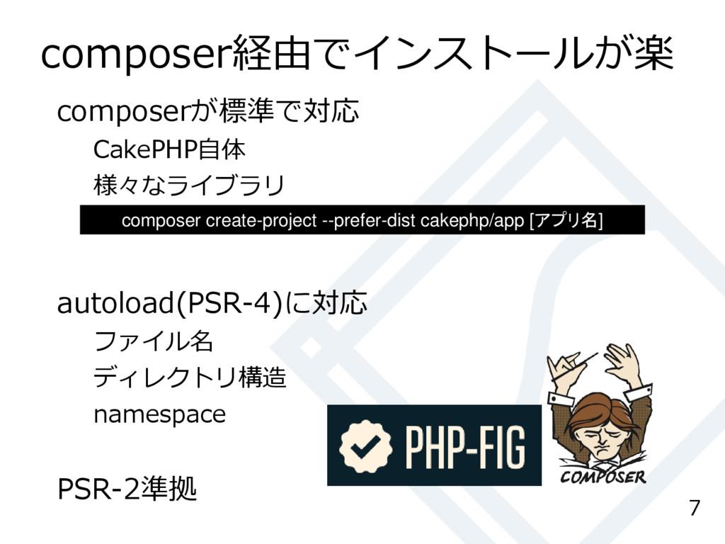 composer経由でインストールが楽 composerが標準で対応 CakePHP自体 様々...