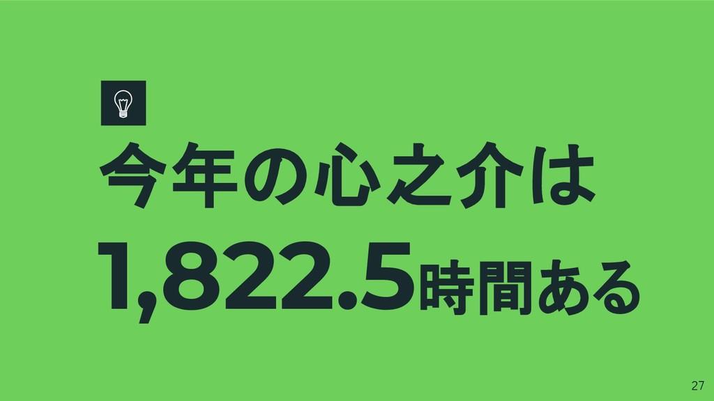 今年の心之介は 1,822.5時間ある 27
