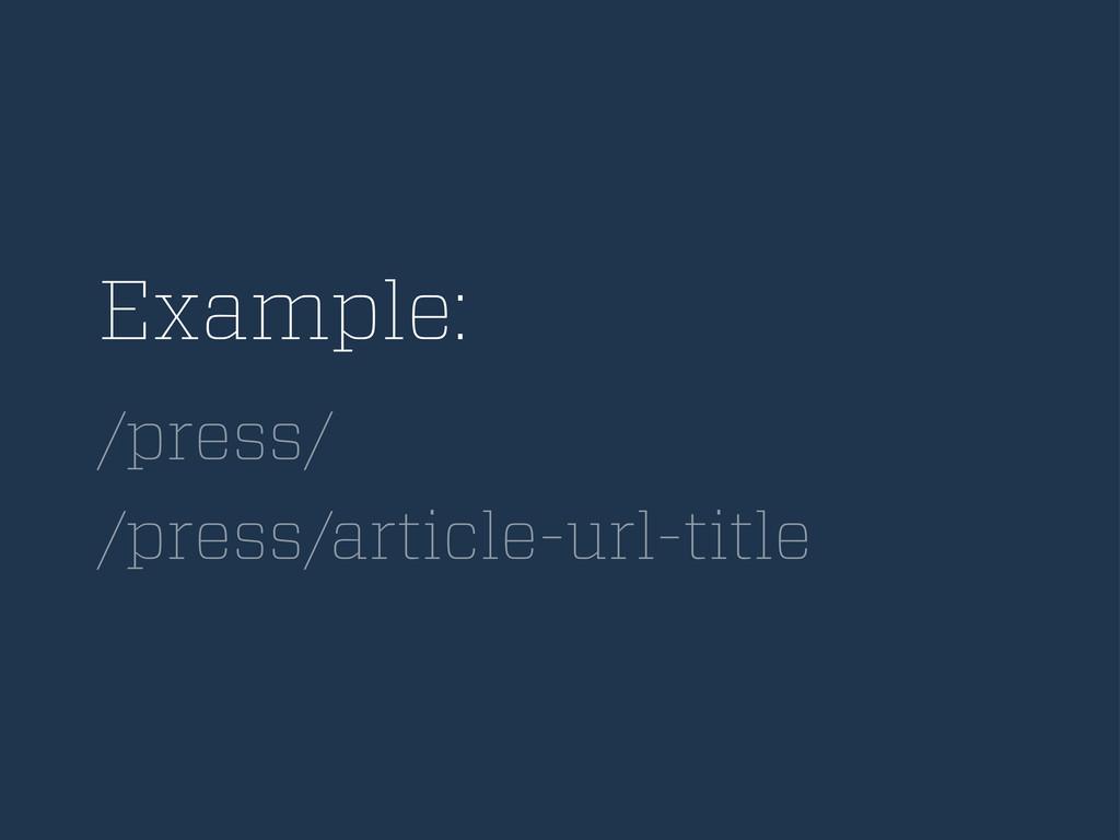 Example: /press/ /press/article-url-title