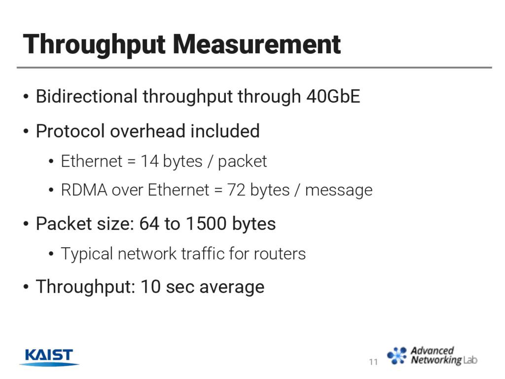 Throughput Measurement • Bidirectional throughp...