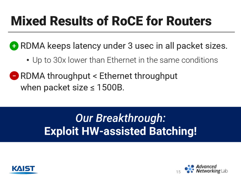 Mixed Results of RoCE for Routers • RDMA keeps ...