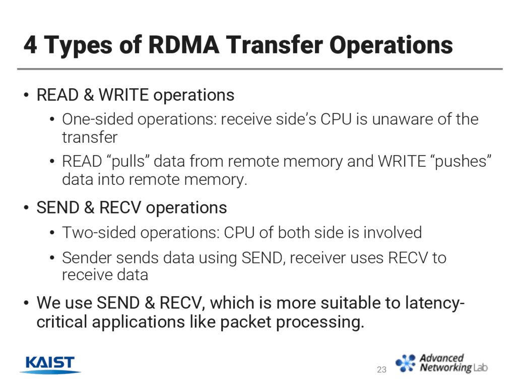 4 Types of RDMA Transfer Operations • READ & WR...