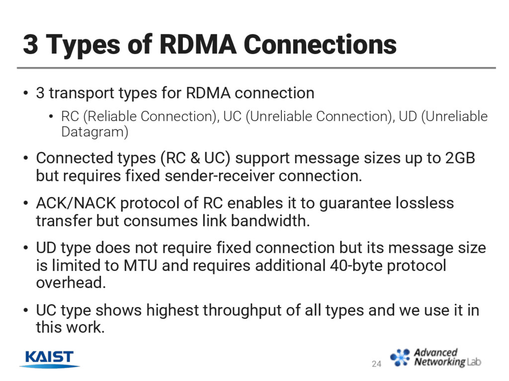 3 Types of RDMA Connections • 3 transport types...