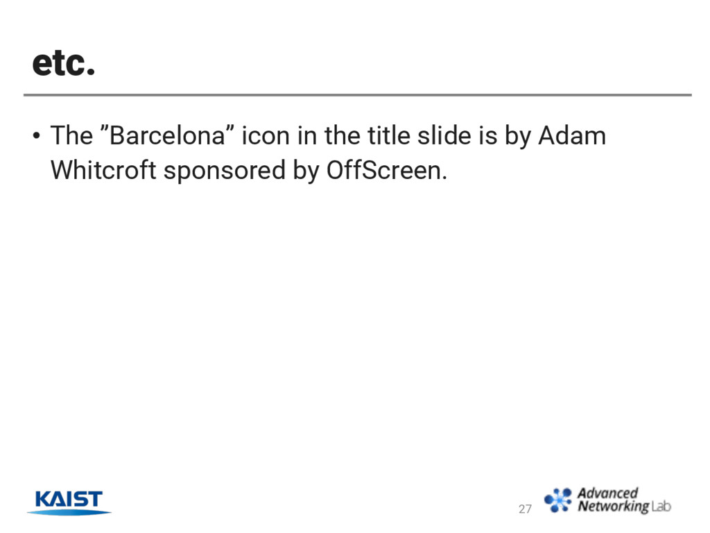 """etc. • The """"Barcelona"""" icon in the title slide ..."""