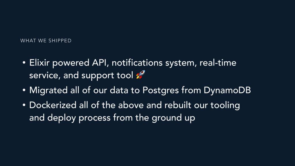 • Elixir powered API, notifications system, rea...