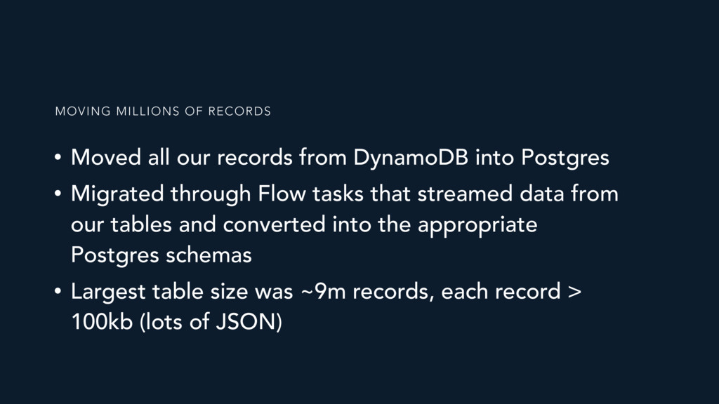 • Moved all our records from DynamoDB into Post...