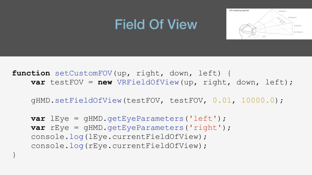 Field Of View function setCustomFOV(up, right, ...