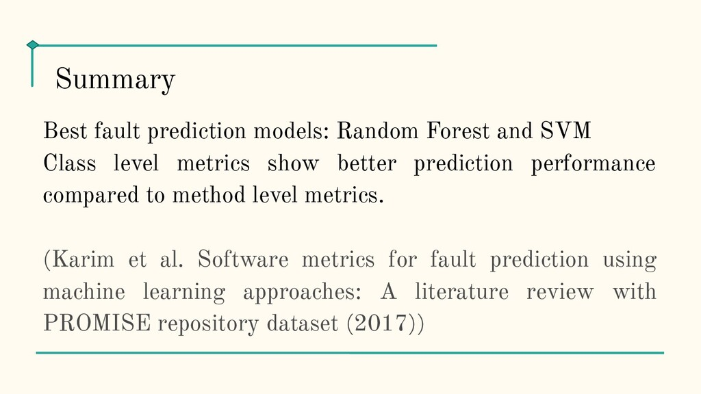 Best fault prediction models: Random Forest and...