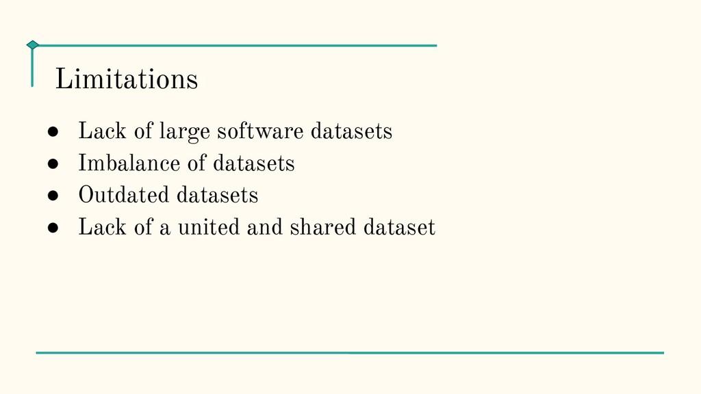 ● Lack of large software datasets ● Imbalance o...