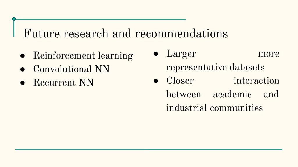 ● Reinforcement learning ● Convolutional NN ● R...