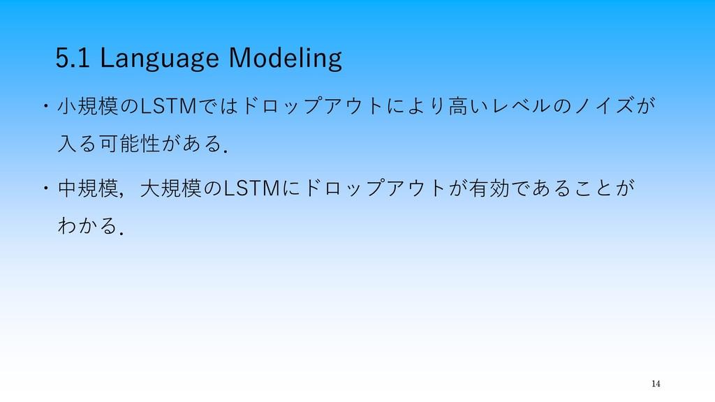 5.1 Language Modeling 14 ・小規模のLSTMではドロップアウトにより高...