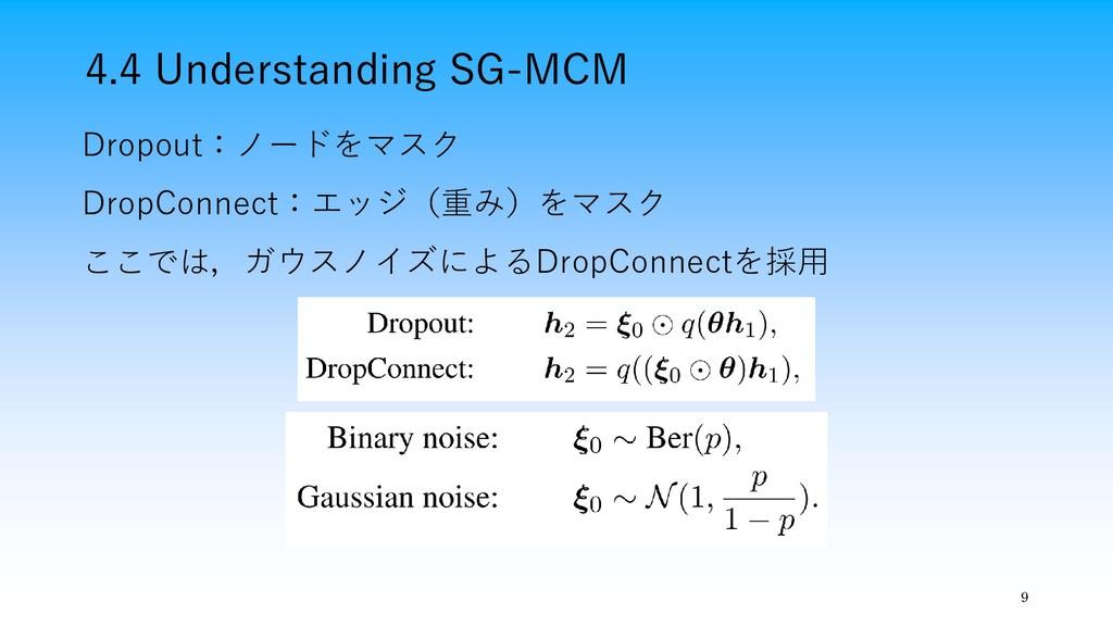 4.4 Understanding SG-MCM 9 Dropout:ノードをマスク Drop...