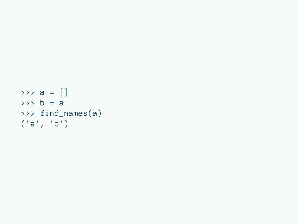 >>> a = [] >>> b = a >>> find_names(a) ('a', 'b...