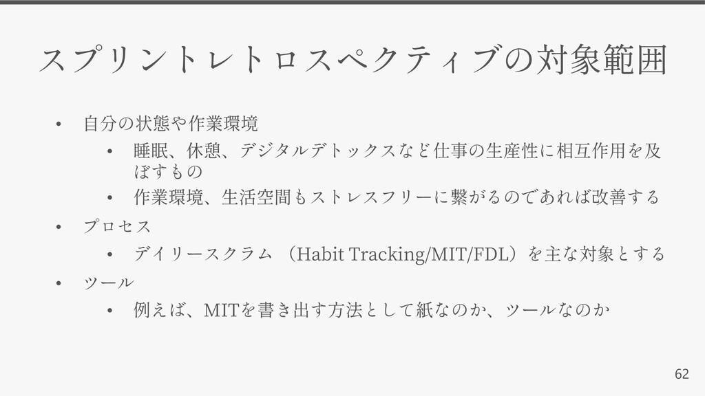 62 • • • • • Habit Tracking/MIT/FDL • • MIT
