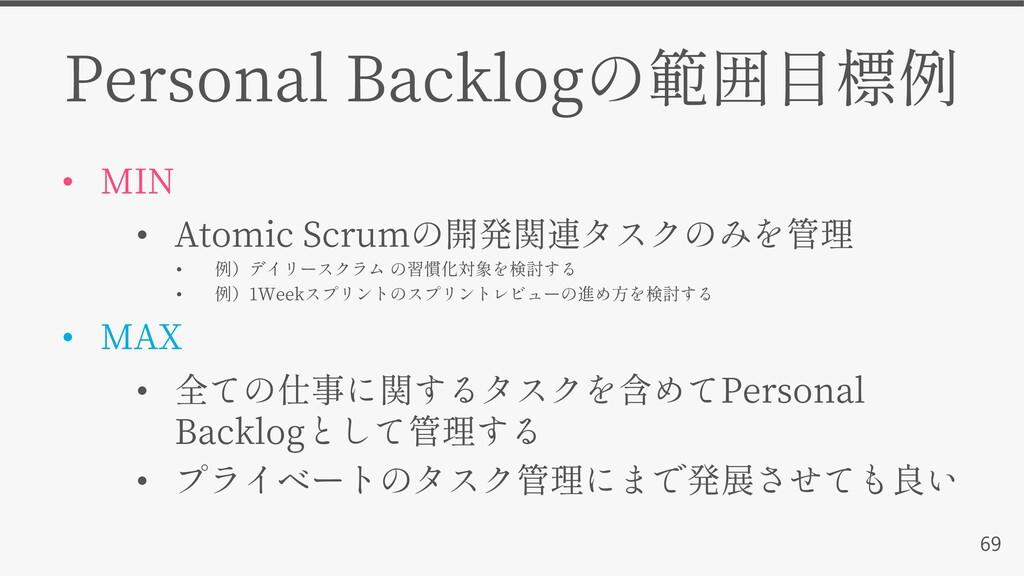 69 Personal Backlog • MIN • Atomic Scrum • • 1W...