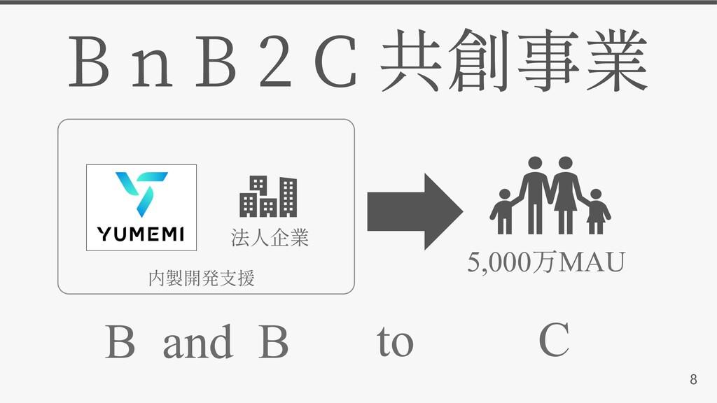B n B 2 C 8 5,000 MAU B and B to C