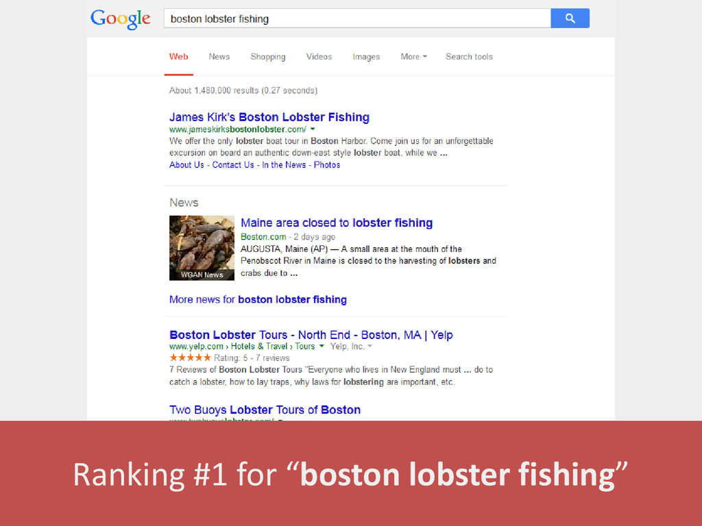"Ranking #1 for ""boston lobster fishing"""