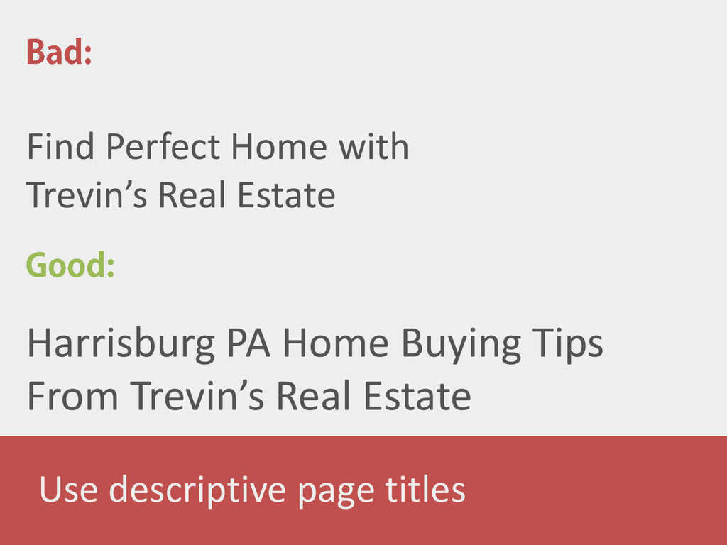 Use descriptive page titles Find Perfect Home w...