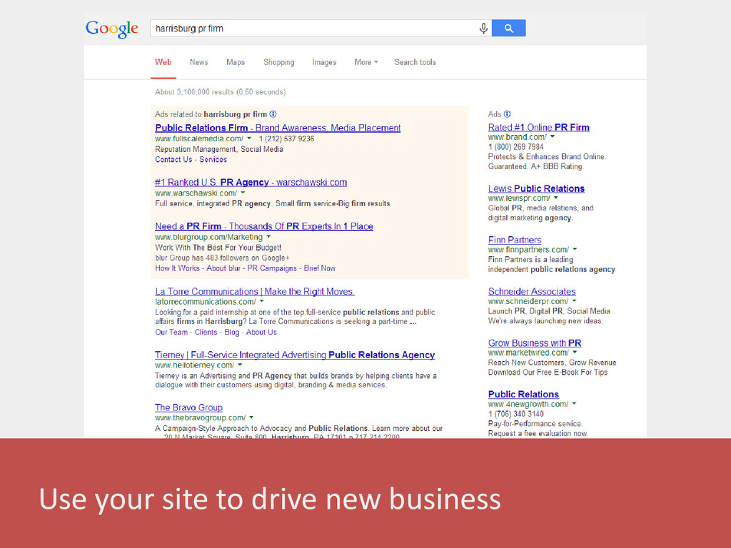 Use your site to drive new business