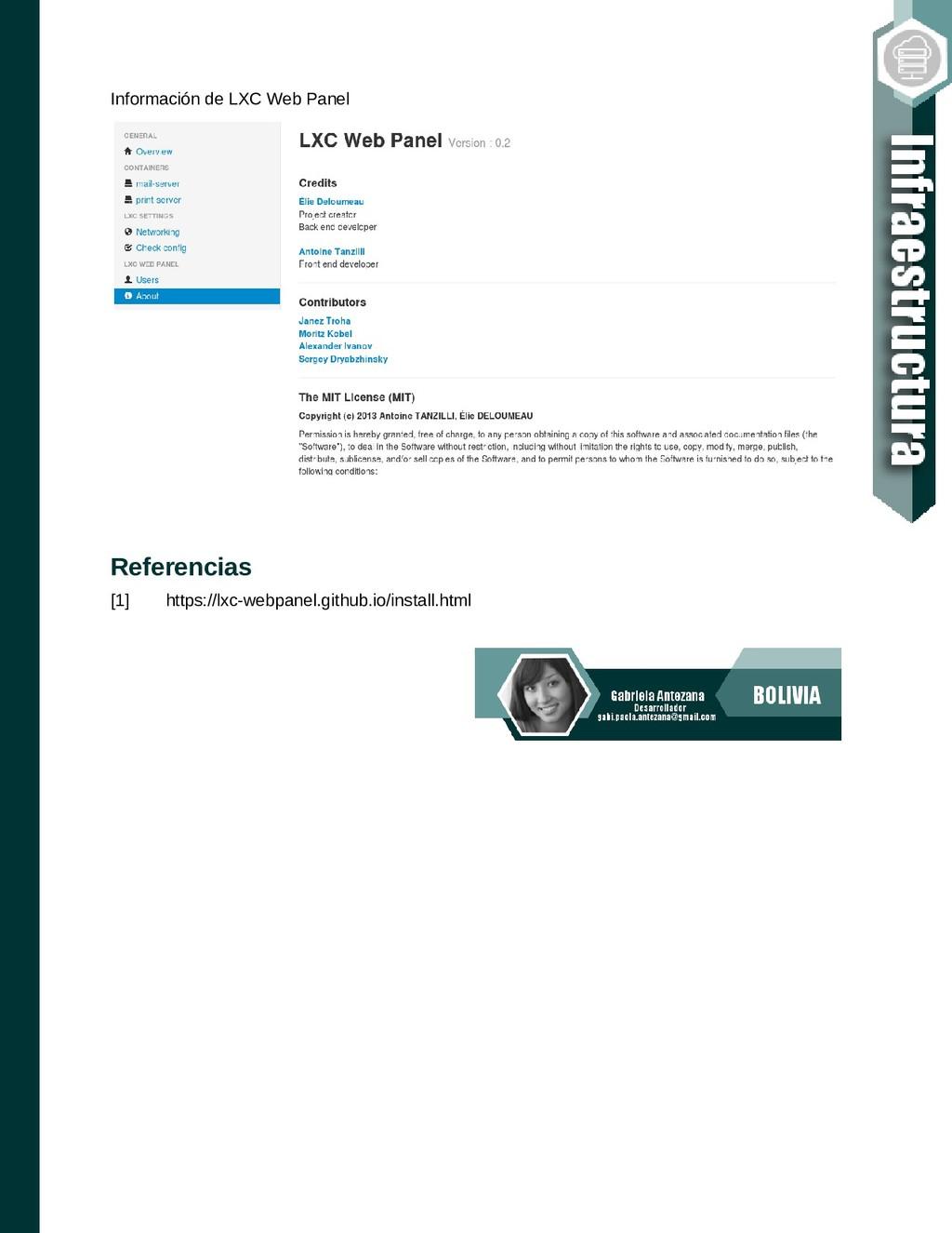 Información de LXC Web Panel Referencias [1] ht...