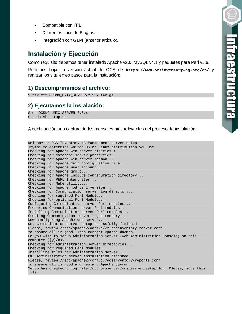 • Compatible con ITIL. • Diferentes tipos de Pl...