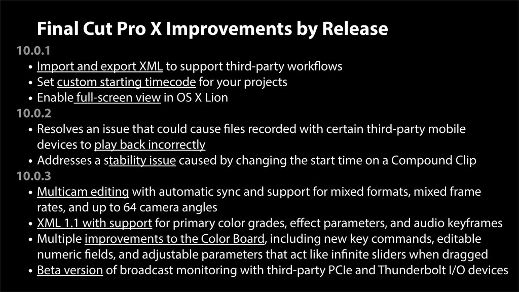 Final Cut Pro X Improvements by Release 10.0.1 ...