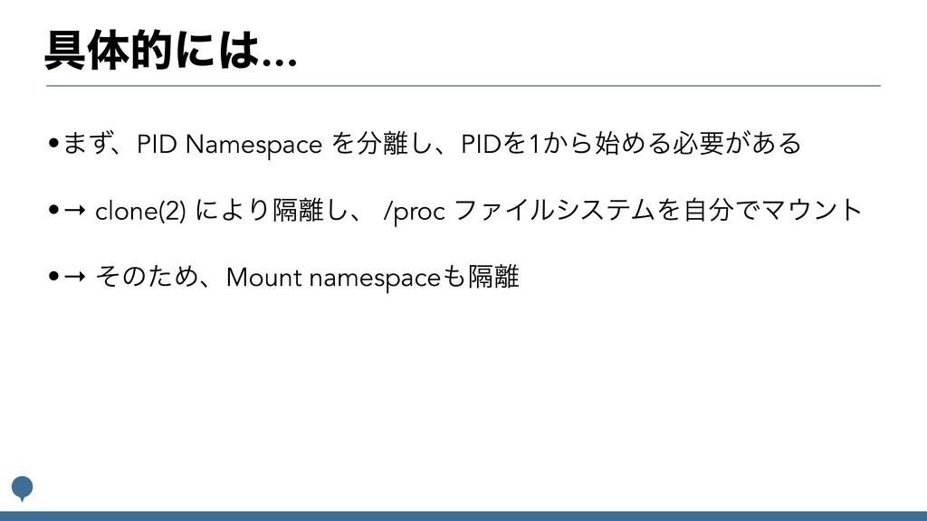 ۩ମతʹ... •·ͣɺPID Namespace Λ͠ɺPIDΛ1͔ΒΊΔඞཁ͕͋Δ...