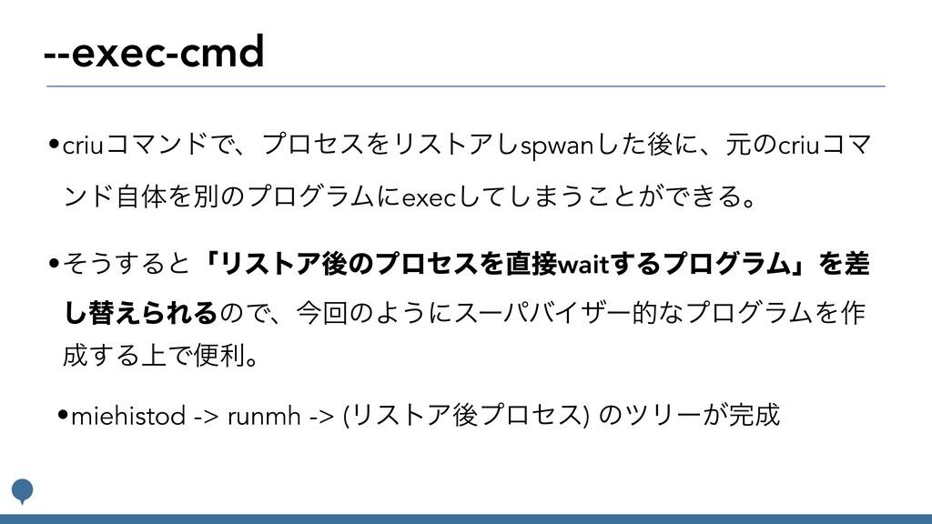 --exec-cmd •criuίϚϯυͰɺϓϩηεΛϦετΞ͠spwanͨ͠ޙʹɺݩͷcri...