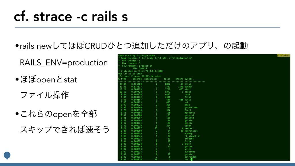 cf. strace -c rails s •rails newͯ͠΄΅CRUDͻͱͭՃͨ͠...