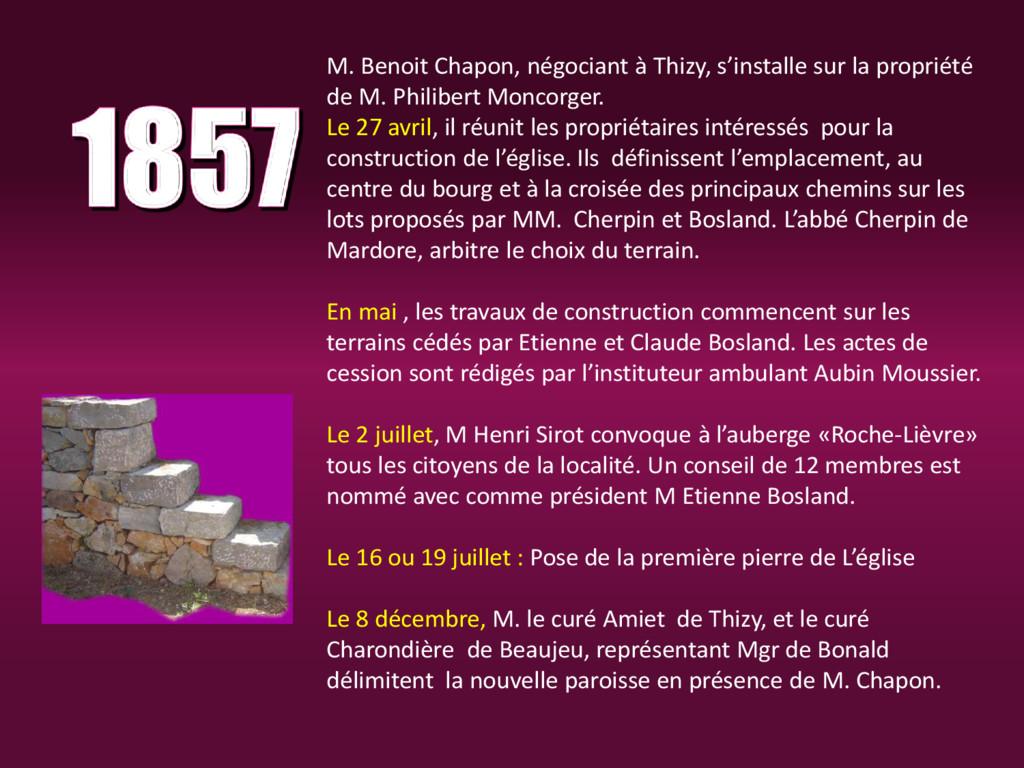 M. Benoit Chapon, négociant à Thizy, s'installe...