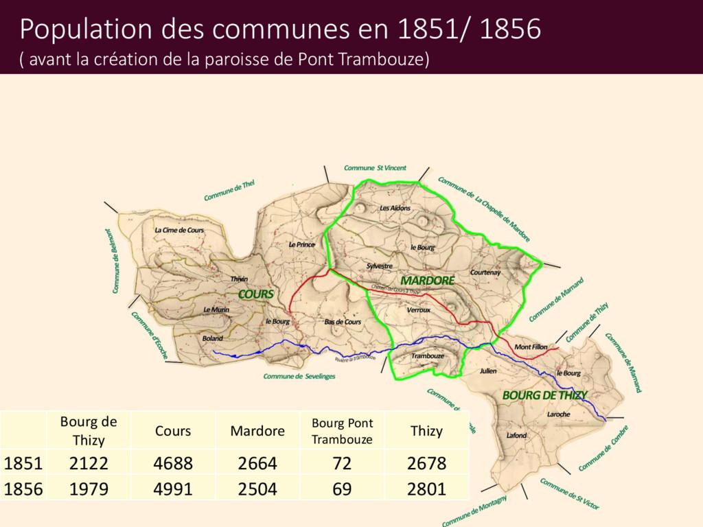 Population des communes en 1851/ 1856 ( avant l...