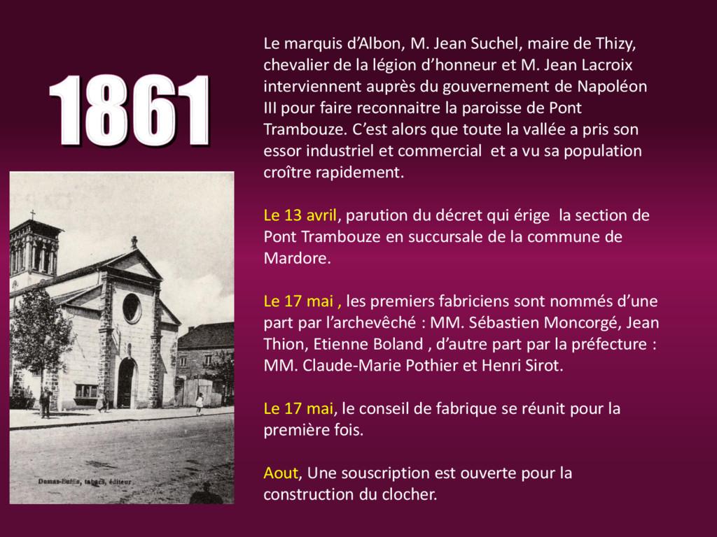 Le marquis d'Albon, M. Jean Suchel, maire de Th...