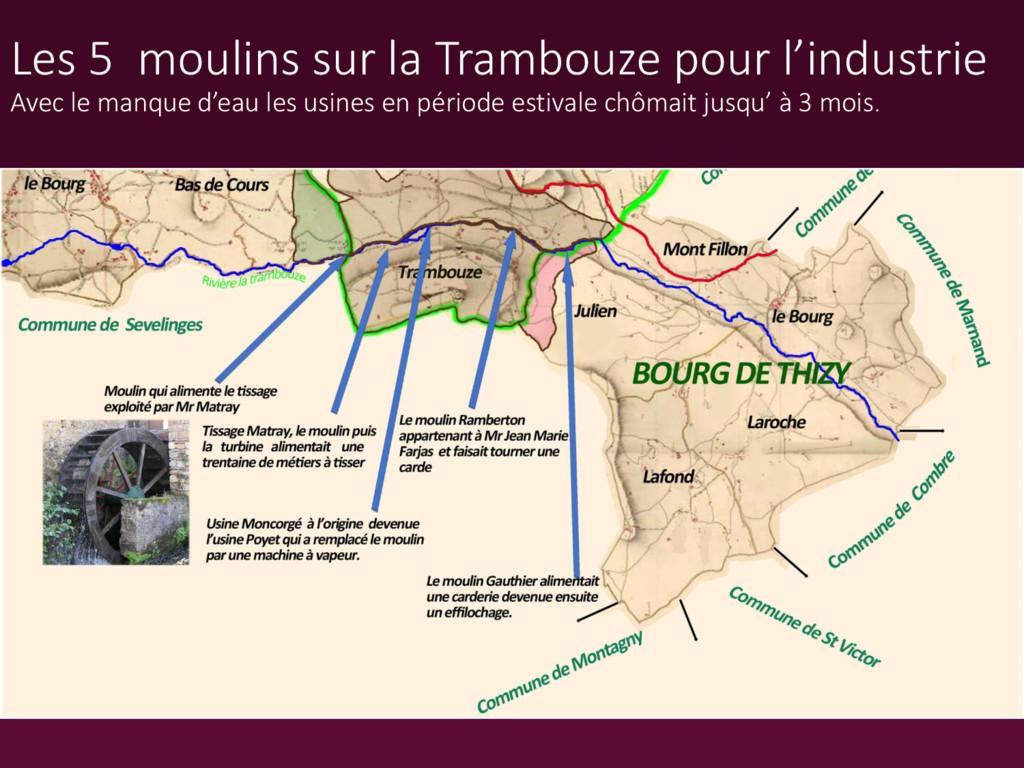 Les 5 moulins sur la Trambouze pour l'industrie...