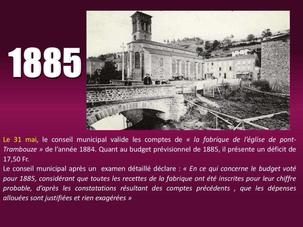 Le 31 mai, le conseil municipal valide les comp...