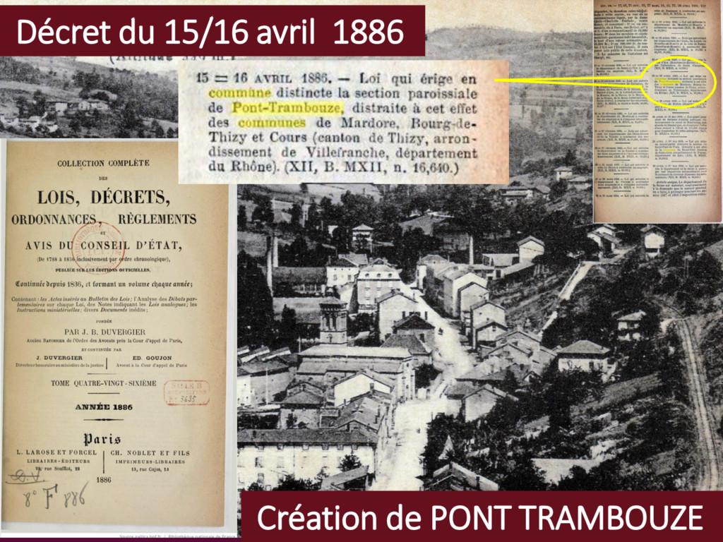 Création de PONT TRAMBOUZE Décret du 15/16 avri...
