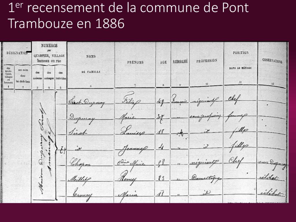 1er recensement de la commune de Pont Trambouze...