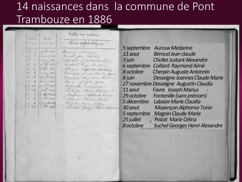 14 naissances dans la commune de Pont Trambouze...