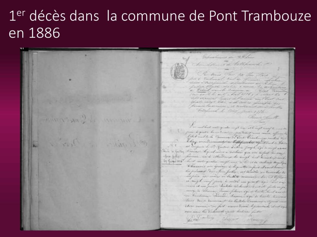 1er décès dans la commune de Pont Trambouze en ...