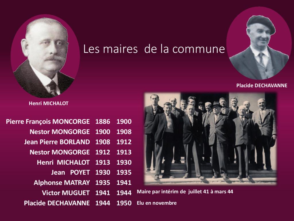 Les maires de la commune Henri MICHALOT Placide...