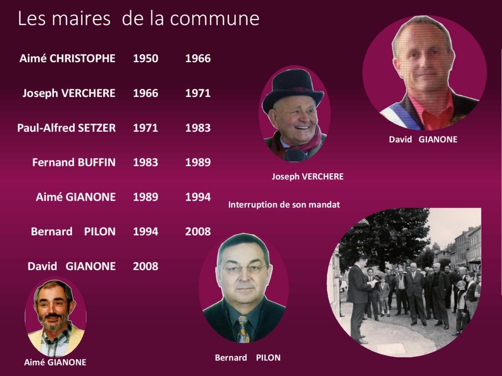 Les maires de la commune Bernard PILON David GI...