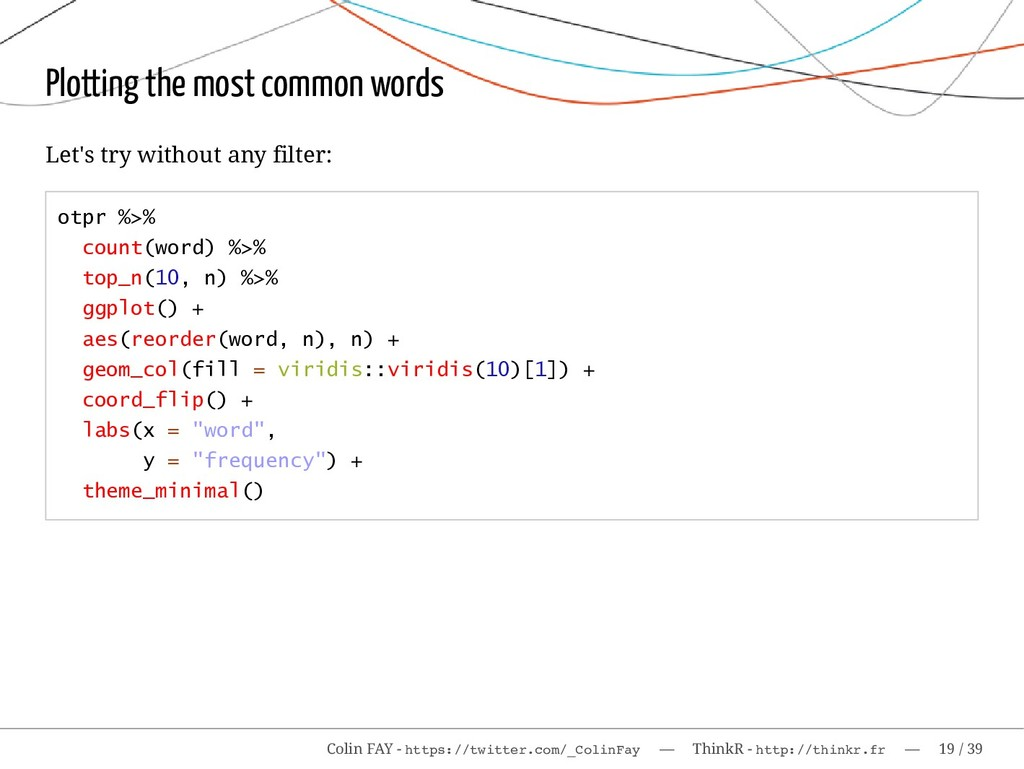 Plotting the most common words Let's try withou...