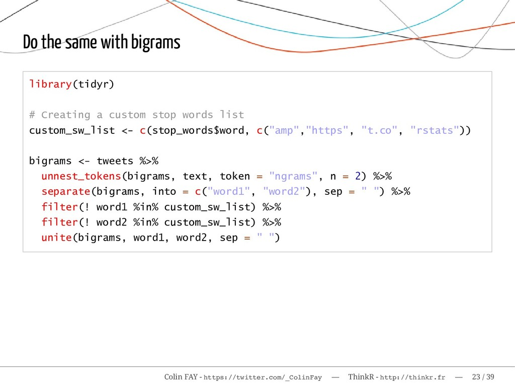 Do the same with bigrams library(tidyr) # Creat...