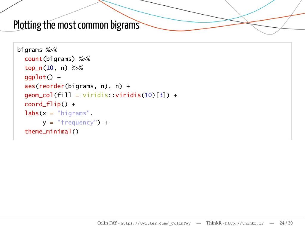 Plotting the most common bigrams bigrams %>% co...