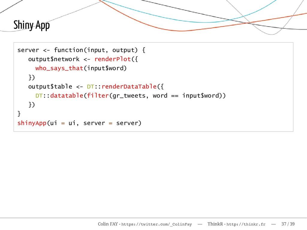 Shiny App server <- function(input, output) { o...