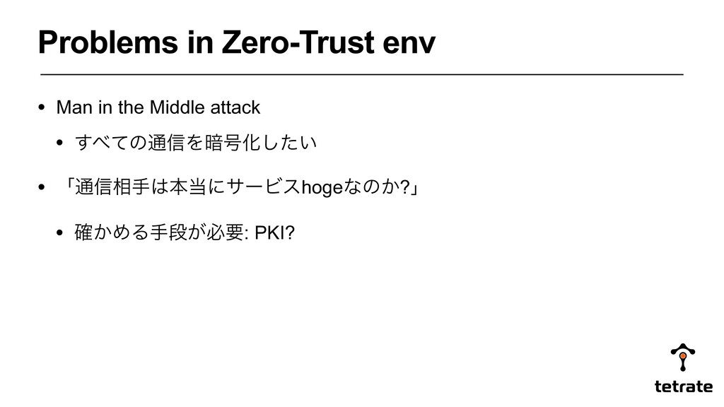 Problems in Zero-Trust env • Man in the Middle ...