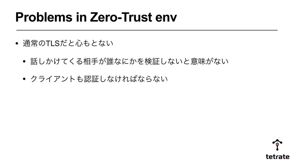 Problems in Zero-Trust env • ௨ৗͷTLSͩͱ৺ͱͳ͍ • ͠...