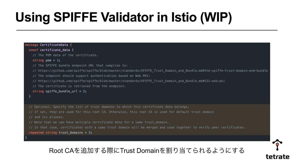 Using SPIFFE Validator in Istio (WIP) Root CAΛ௥...